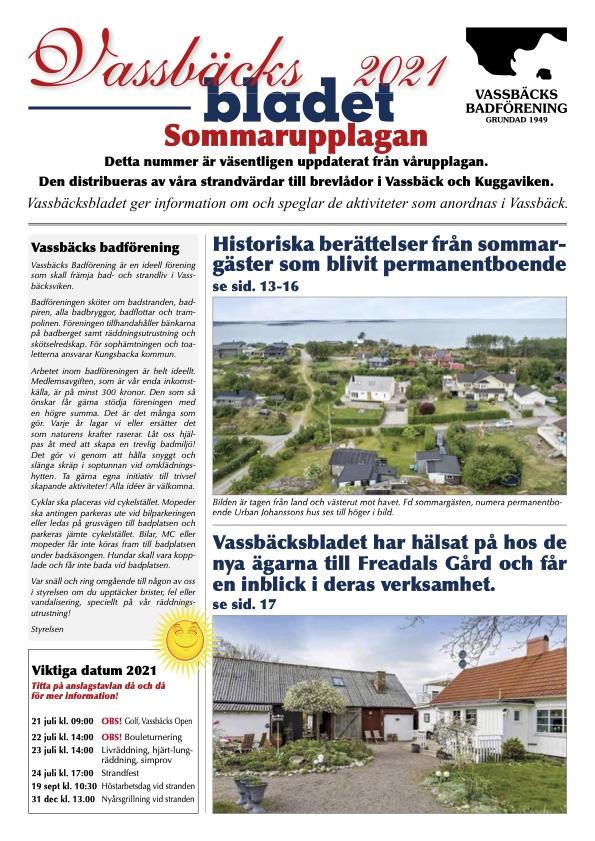 Vassbäcksbladet 2021 Sommarupplagan
